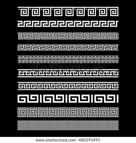 Set of border decoration elements seamless patterns in Greece style. Vector collection art