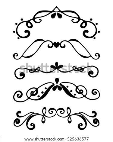 Set borders flourish decorative border vintage stock vector flourish decorative border vintage frame elements wedding holiday invitation stopboris Image collections