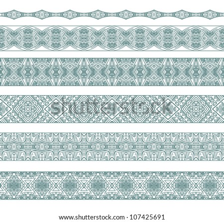 Set of borders with ornament. Interesting solutions for your design - stock vector