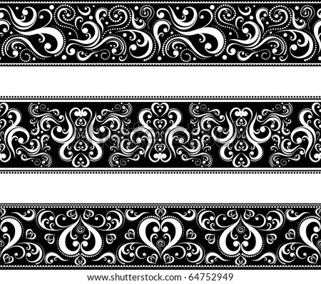 set of borders with scroll ornaments in vector format very easy to edit, individual objects - stock vector