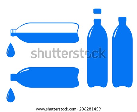 set of bottle and falling water drop on white background - stock vector