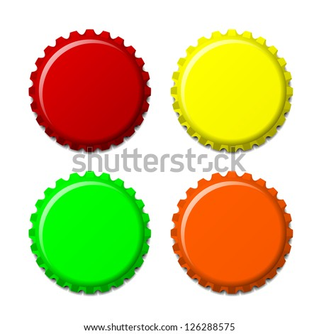 Set of bottle caps in colors isolated on white background, vector illustration - stock vector