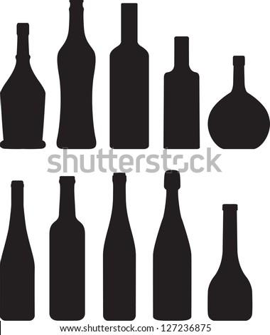 set of bottle silhouette - stock vector