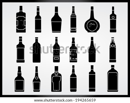 Set of bottles illustrated on white background - stock vector