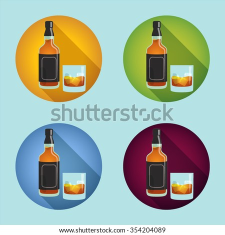 set of bottles of whiskey and glasses of whiskey with ice