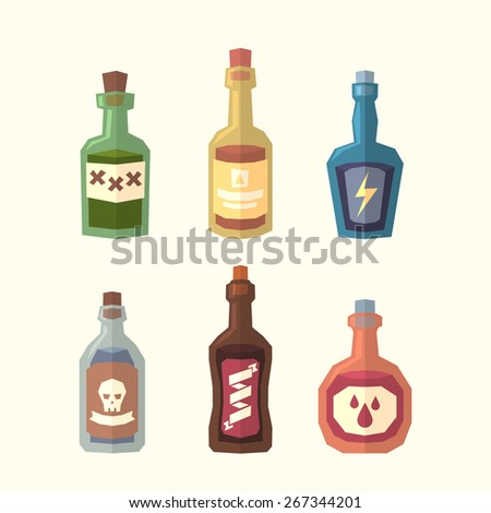 Set of bottles. Vector illustration. - stock vector