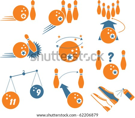 Set of Bowling Icons - stock vector