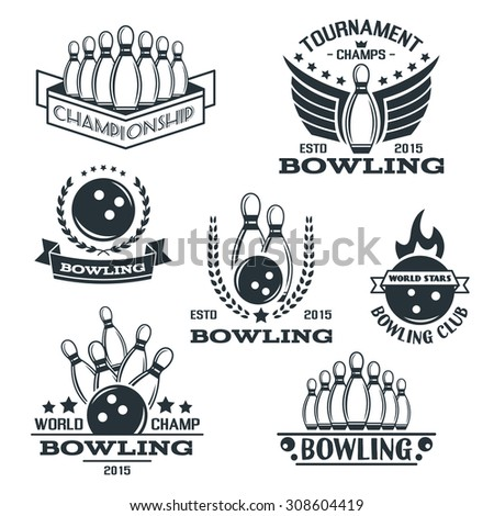 Set of bowling logos, labels, badges and design elements. Business signs templates, icons, identity design elements and objects. - stock vector