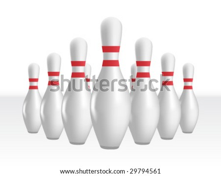 set of bowling pins - stock vector