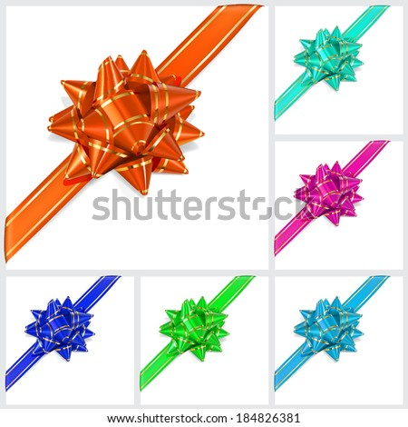 Set of bows of multicolored ribbons with gold stripes with shadow on white background. Located diagonally - stock vector