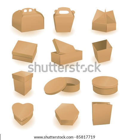 Set of boxes and packages. A vector illustration - stock vector