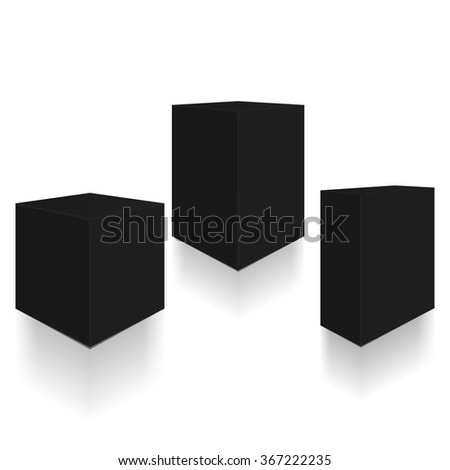 Set of boxes. Three- three-dimensional black boxes with shadows and reflection - stock vector