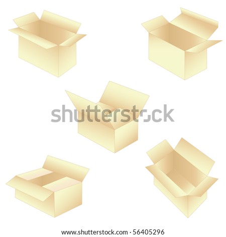 set of 5 boxes. Vector illustration - stock vector
