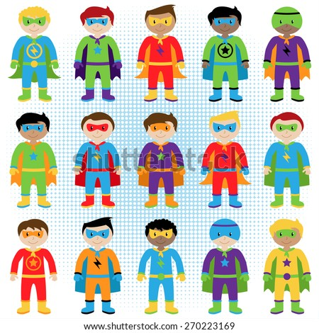 Set of Boy Superheroes in Vector Format - stock vector