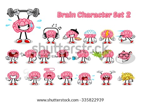 Set of Brain Cartoon Character Two Vector Illustration - stock vector