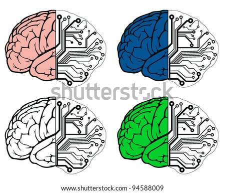 set of brains in circuit style with motherboard. vector illustration - stock vector