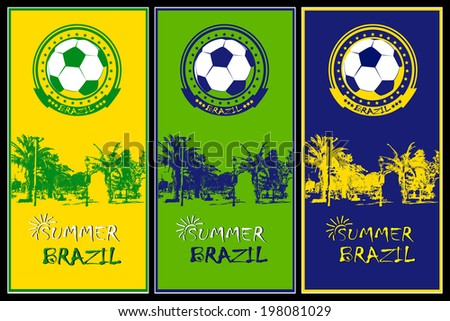 Set of Brazil Football posters. - stock vector