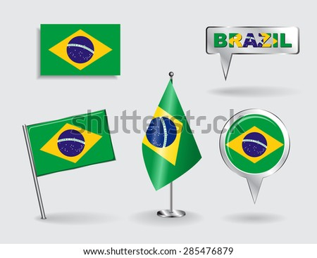Set of Brazilian pin, icon and map pointer flags. Vector illustration. - stock vector
