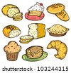 set of bread and cake in doodle style - stock vector