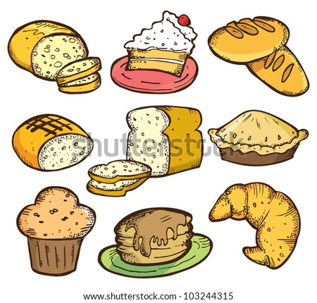 set of bread and cake in doodle style