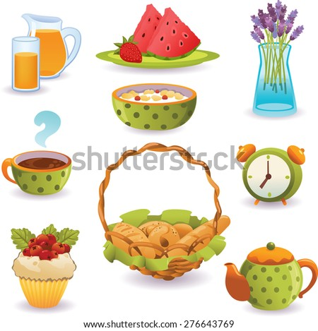 Set of Breakfast: tea, fresh juice, muesli and bread. Isolated on white background. - stock vector
