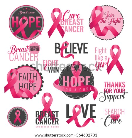 Set of breast cancer awareness badges with pink ribbons. Breast cancer month. October is a month of breast cancer awareness in the world. Pink ribbon. Vector illustration