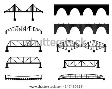Set of bridge illustrated on white  - stock vector
