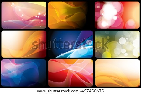 Set of bright abstract backgrounds. Business card
