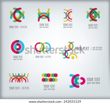Set of bright abstract design elements for logo design - stock vector