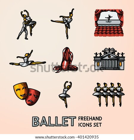 Set of bright Ballet freehand icons with - ballet dancers, swan lake dance, stage, theater building, masks. Vector - stock vector