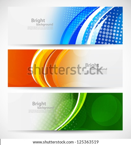 Set of bright banners - stock vector