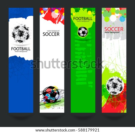 Set Bright Banners Soccer Grunge Ball Stock Vector - Sports banner templates
