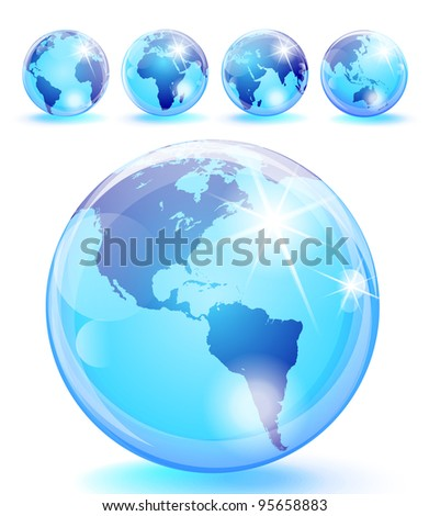 Set of 5 bright blue earth marbles. Eps 10 transparencies used on other than normal blending mode. - stock vector
