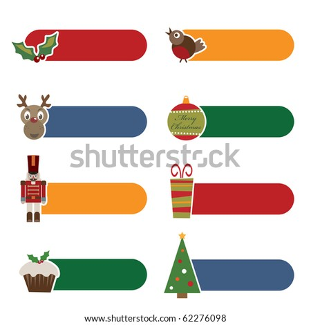 set of bright christmas tabs isolated on white - stock vector