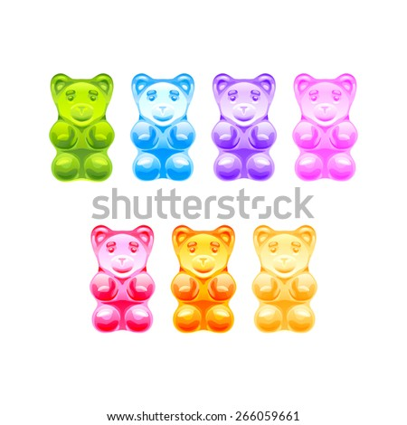Set of bright colored gummy bears on white background - stock vector
