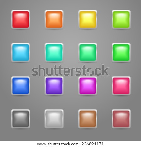 Set of bright colorful glow square buttons with metallic frame - stock vector