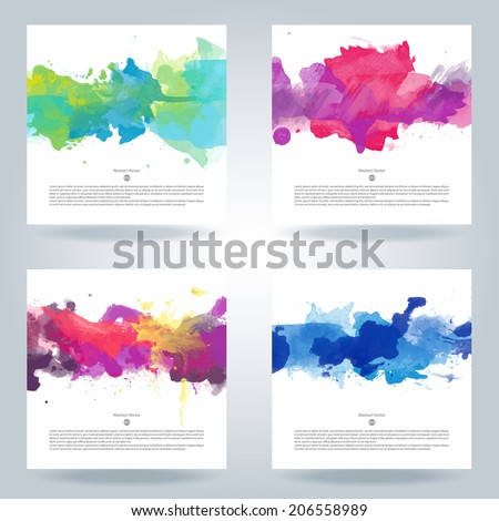 Set of bright colorful vector watercolor background  - stock vector