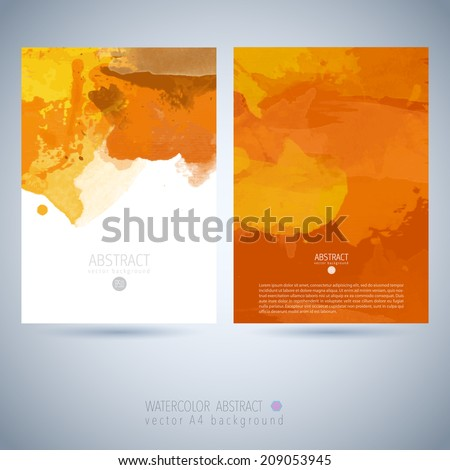 Set of bright colorful vector watercolor background  Watercolor invitation template - stock vector