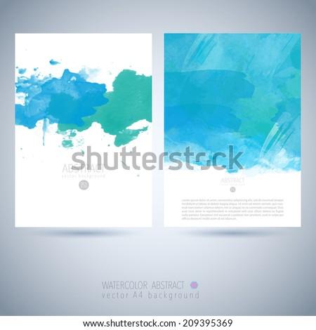 Set of bright colorful vector watercolor background  Watercolor invitation template , - stock vector