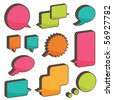 set of bright 3d speech bubbles ready for text - stock photo