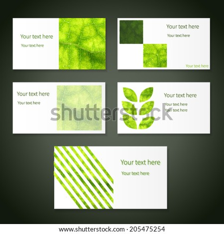 Set bright eco business cards place stock vector 205475254 set of bright eco business cards with place for your text texture of green leaf colourmoves
