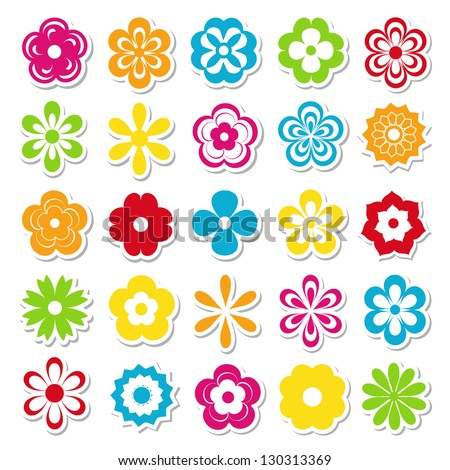 set of bright flower stickers - stock vector