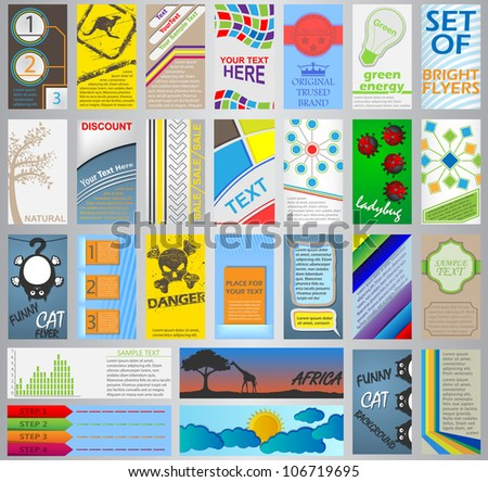 set of bright flyers - stock vector