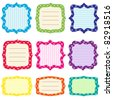 Set of 9 bright  frames with polka dots pattern. Set 2 - stock vector