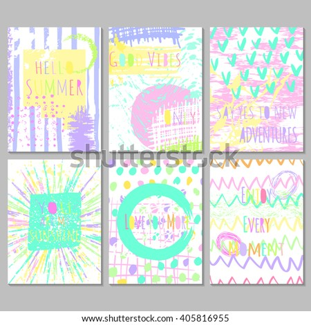 Set of 6 bright freehand artistic  cards with motivation  quotes .  Universal modern design for journaling card, invitation, brochure. Easy editable vector illustration with hand drawn textures. - stock vector
