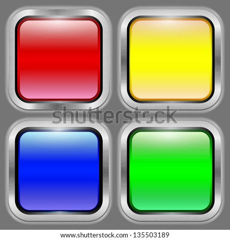 Set of bright glossy colored buttons on a metal background