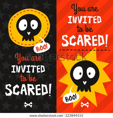 Set of 2 bright Halloween party invitations with skulls and text - stock vector