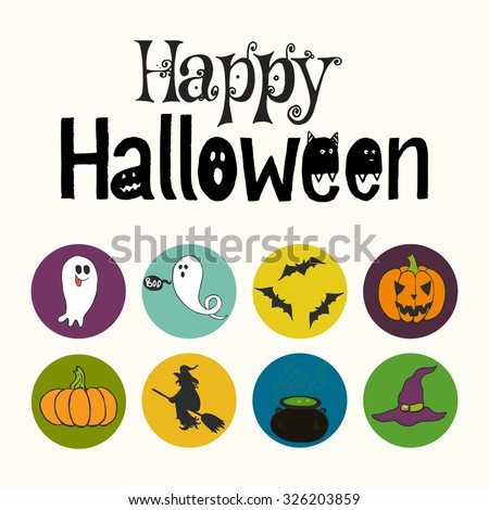 Set of bright hand drawn doodle halloween icons isolated on colorful bright circles. Happy Halloween hand lettering. - stock vector