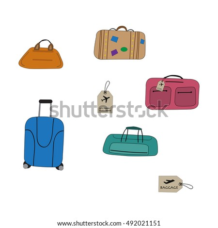 set of bright hand drawn suitcases. Baggage for Travel