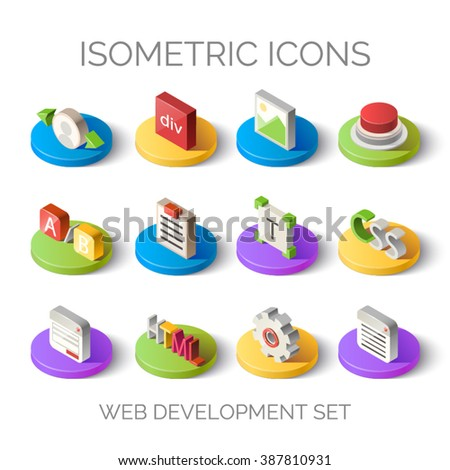Set of bright isometric icons. 3D pictogram vector. Web development set. Elements for mobile and web applications. EPS 10